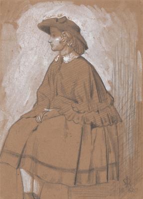 John Everett Millais. Sitting girl. Sketch