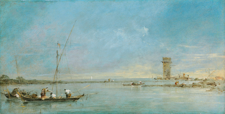 Francesco Guardi. View of the Venetian lagoon with the tower of Mulger
