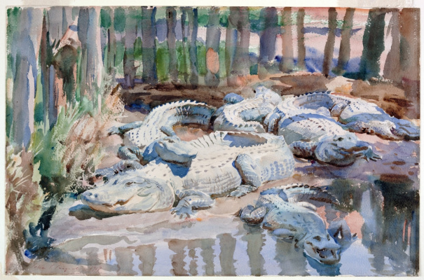 John Singer Sargent. Alligators in the swamp