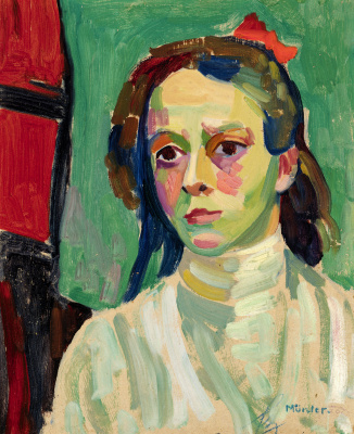 Gabriele Münter. Girl with red bow