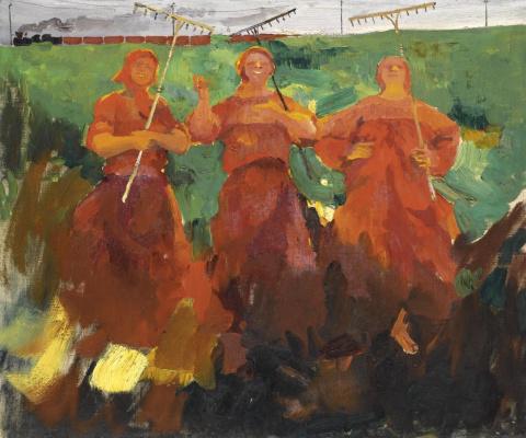 Filipp Andreevich Malyavin. Three peasant women with a rake