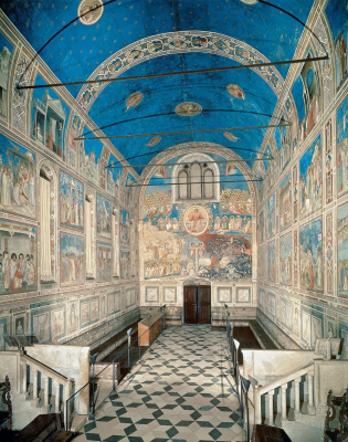 Giotto di Bondone. Scrovegni Chapel. The western wall (entrance), opposite the apse and part of the paintings on the side walls