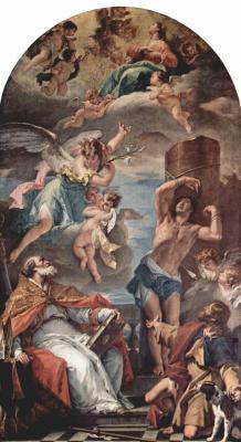 Себастьяно Риччи. Мария во славе с архангелом Гавриилом и свв. Евсевием, Себастьяном и Рохом