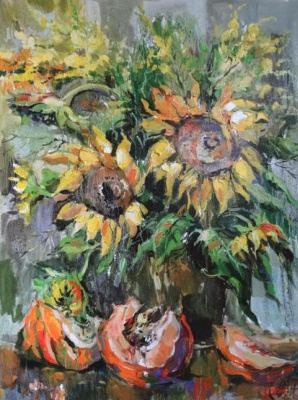 Anna Anatolyevna Charina. Sunflowers and pumpkins