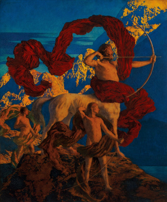 Maxfield Parrish. Achilles and his teacher Chiron