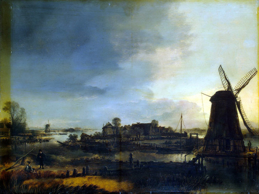 Art van der Ner. Landscape with a windmill