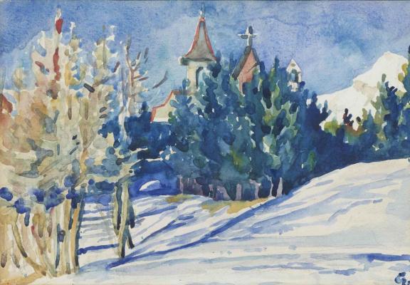 Giovanni Giacometti. Church in winter landscape, Maloja