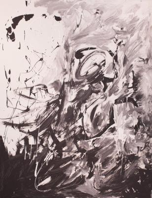 Паша Туремский. Черно белые элементы. Пространственная абстракция. ДВП, акрил, лаки. 70х90 см. 2013 г.