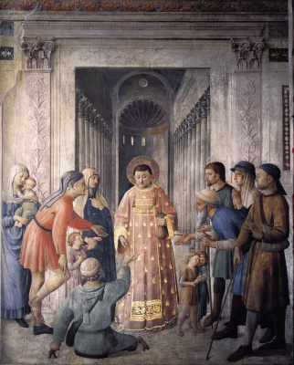 Fra Beato Angelico. Distribution of alms by St. Lawrence. Fresco of the Niccolin Chapel