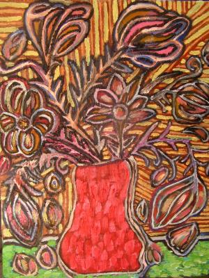 """Tatyana Turanova. Still Life """"In a Red Vase"""""""