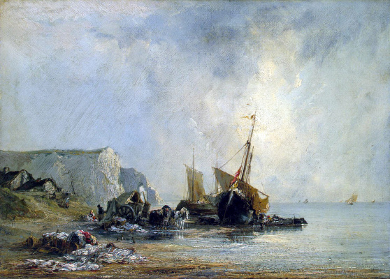 Richard Parkes Bonington. Boats on the shore of Normandy