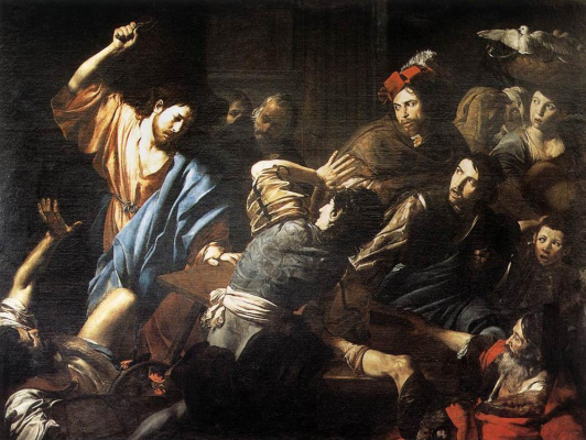 Valentine de Boulogne. Christ drives out money changers from the temple