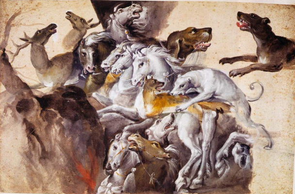 Giuseppe Arcimboldo. Composition with animals: dogs, horses and deer