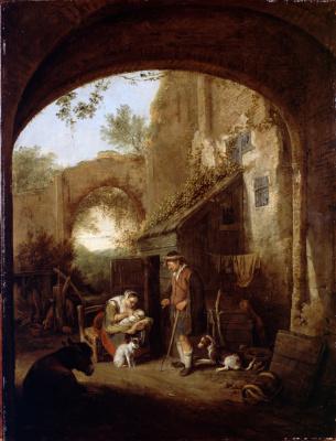 Корнелис Дюсарт. Фигуры во внутреннем дворе старого здания