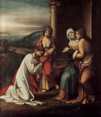 Antonio Correggio. The farewell of Christ to Mary, Martha and Mary
