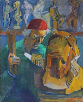 Николай Багратович Никогосян. Автопортрет. За работой над скульптурным портретом А. Исаакяна
