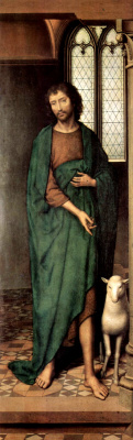 Hans Memling. Saint John The Baptist. Altar of the passion (Triptych Greverud). Left wing, outer side