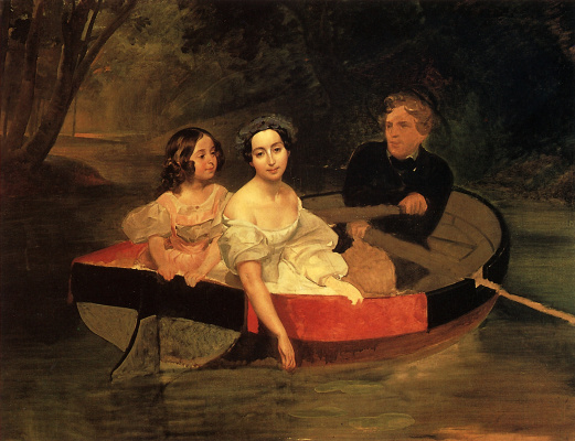 Karl Pavlovich Bryullov. Portrait of the author and Baroness E. N. Meller-Zakomelsky with a girl in a boat