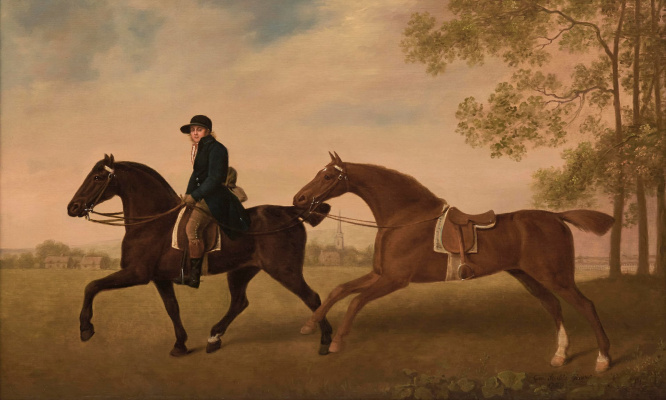 George Stubbs. Two riding horses with jockey in blue livery on the landscape