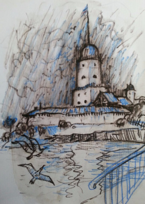 """Natalia Gennadievna Torlopova. VYBORG FORTRESS series of graphic sketches of """"PETER and the suburbs,"""" 2016"""