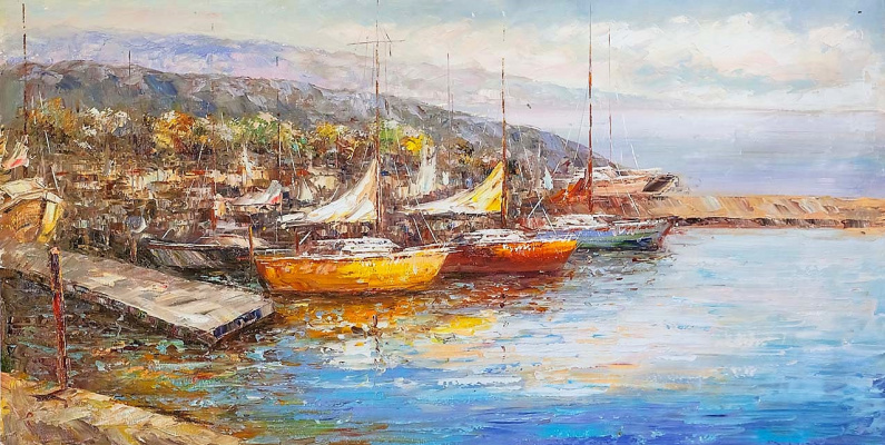 (no name). Landscape with sailboats in the background of the city N2