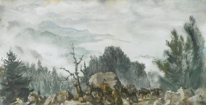 Alexander Yakovlev. The Mountains of Bandipur. 1931 tempera.