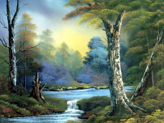 Bob Ross. Waterfall