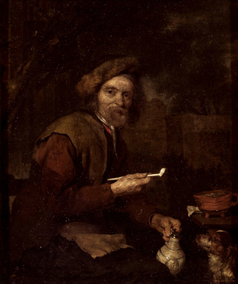 Gabrielle Metsu. Man with pipe and jug