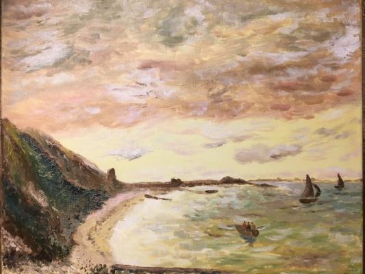 Mihails (Mikhail) Valentinovich Ribenko (Rybenko). Sunset at sea with sailboats