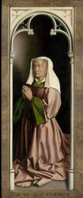 Jan van Eyck. The Ghent altar with closed doors. The wife of the donor (detail)