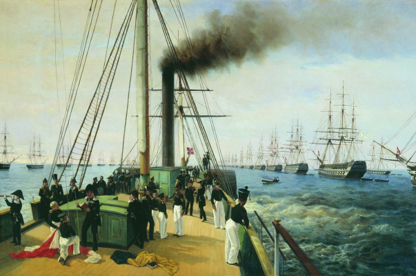 Alexey Petrovich Bogolyubov. Review of the Baltic Fleet by Nicholas I on the steamer Nevka in 1848