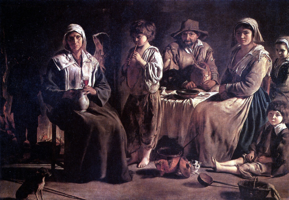 Louis Lenen. Peasant family in interior