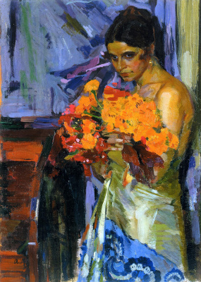 Alexander Murashko. Woman with nasturtiums