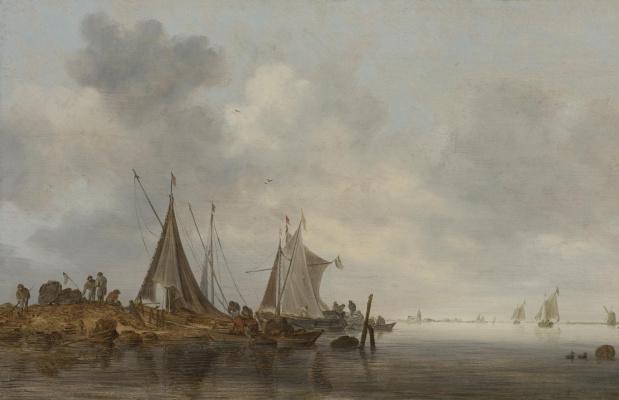 Ян ван Гойен. Рыбацкие лодки на отмели