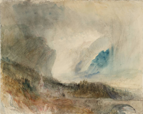 Joseph Mallord William Turner. Storm on the St. Gotthard pass. The first bridge before Altdorf. A rough sketch