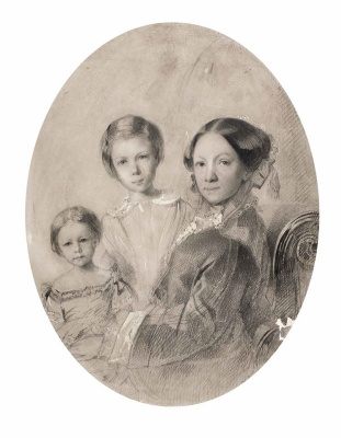 Maria Alekseevna Polenova (Voeikova). Self portrait with daughters Vera and Elena