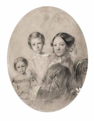 Maria Alekseevna Polenova (Voeikova). Self portrait with daughters Vera and Elena