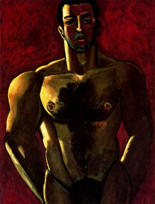Marsden Hartley. A man with a naked torso