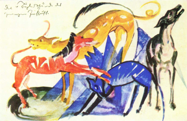 Franz Marc. Four dogs of the pack of Prince Yusuf