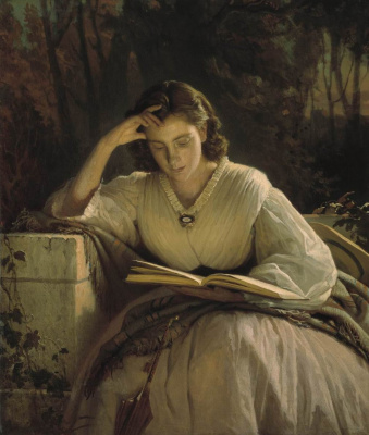 Ivan Nikolayevich Kramskoy. Reading. Portrait of Sofia Nikolaevna Kramskoy, the artist's wife