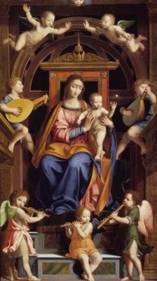 Бернардино Луини. Возведение на престол Мадонны с младенцем ангелами