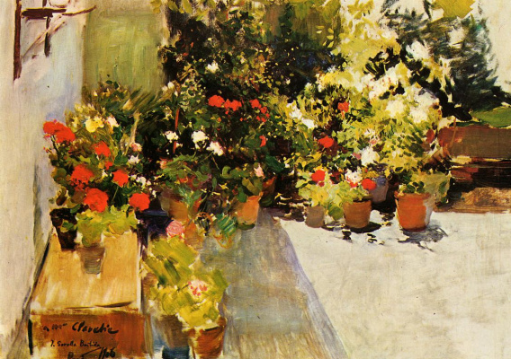 Joaquin Sorolla (Soroya). Roof with flowers