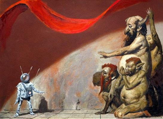 Heliy Mikhailovich Korzhev. Turlini and alien. Sketch