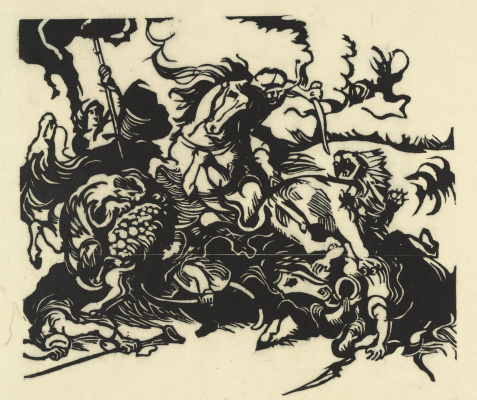 Franz Marc. Hunting lions (by Delacroix)
