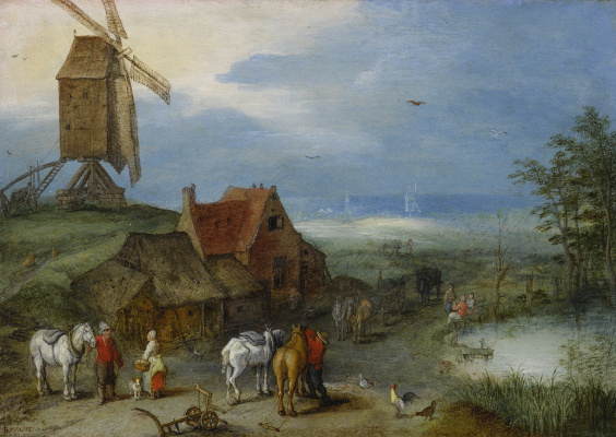 Jan Bruegel The Elder. Landscape with windmills