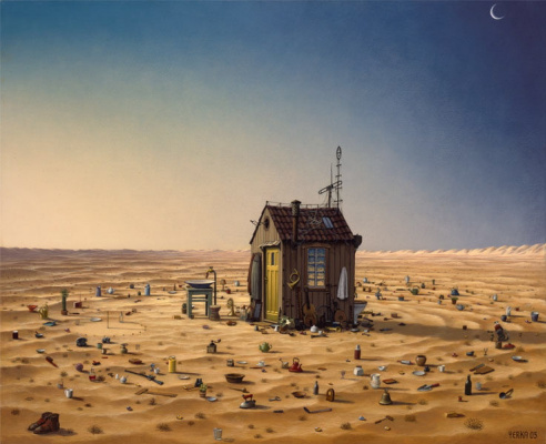 Jacek Yerka. House in the desert