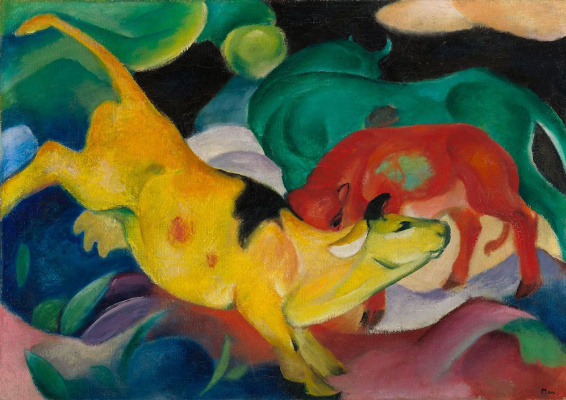 Franz Marc. Cows - red, green, yellow