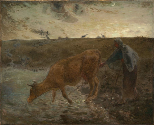 Jean-François Millet. Evening: peasant woman with a cow at a watering place
