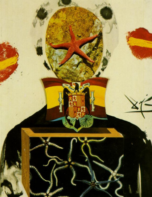 "Salvador Dali. Figure with flag. Illustration for ""Memories of surrealism"" (Surreal king)"