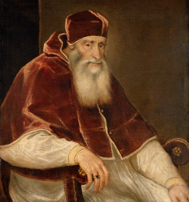 Titian Vecelli. Portrait of Pope Paul III Farnese